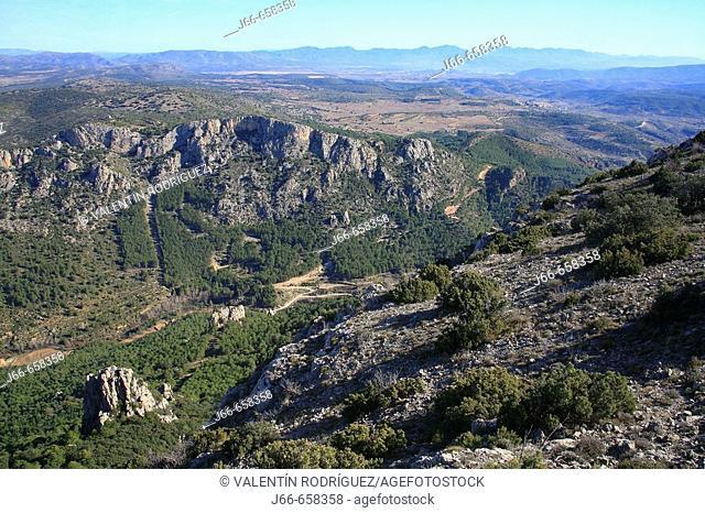 Landscape near Palancia river source.  Alto Palancia, Castellon province, Comunidad Valenciana, Spain. View from Peñaescabia