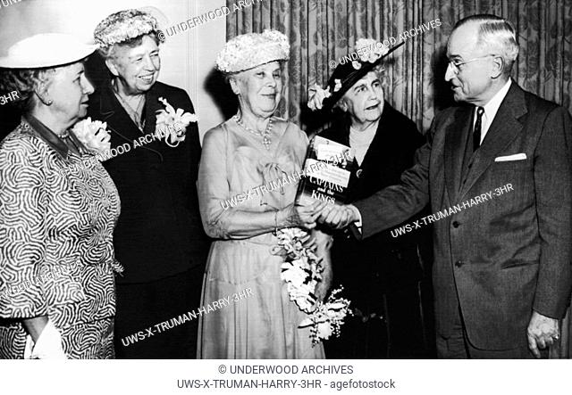 Washington, D. C. : May 11, 1954. Former First Ladies and former President Truman get together at the White House for the publication of White House Social...