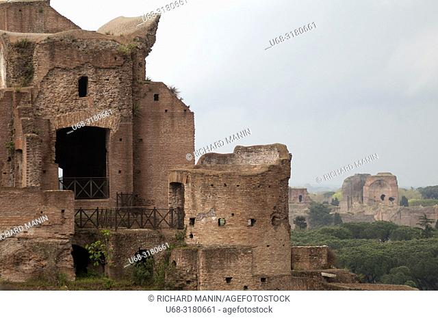 Italy, Rome, Roman Forum or Forum of Rome, archaeological site, main square of ancient Rome, Stadio Palatino, Baths of Caracalla in the background