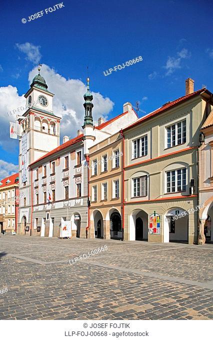 Renaissance tower of Town Hall on Masaryk Square, Trebon, Czech Republic