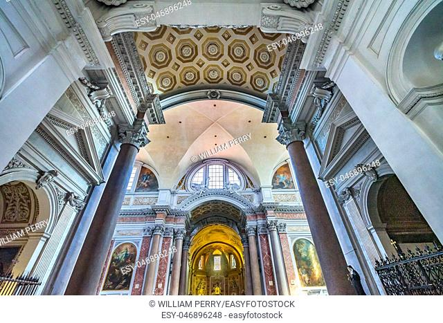 Arch Basilica Saint Mary Angels and Martyrs Rome Italy. Church designed by Michelangelo 1560 from Emperor Diocletian Baths