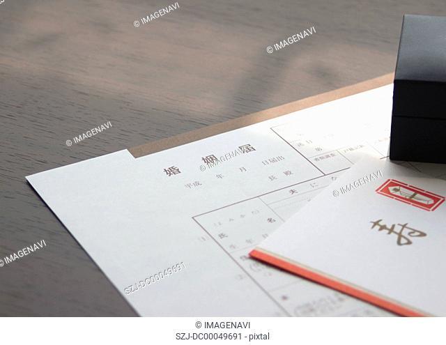 Marriage form, Kotobuki Congratulation envelop, and a ring case