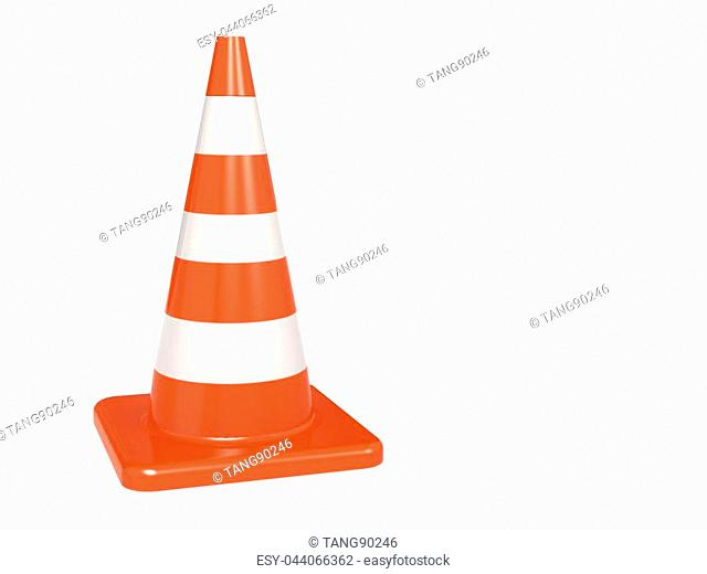 Isolated orange white traffic cone, 3D rendering