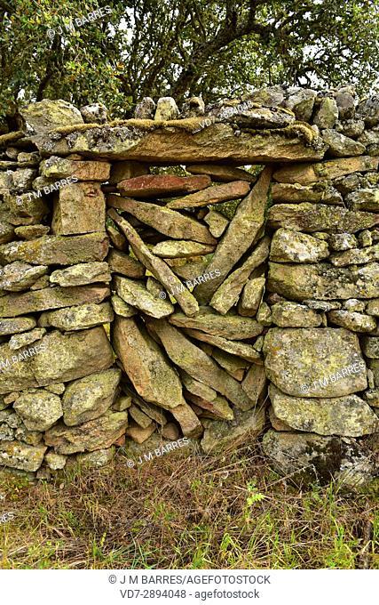 Popular architecture. Canceled door and wall building with granite blocks. Cozcurrita, Sayago, Zamora Province, Castilla-Leon, Spain