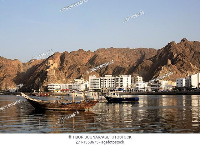 Harbour, fort and mountains, Mutrah, Muscat, Oman