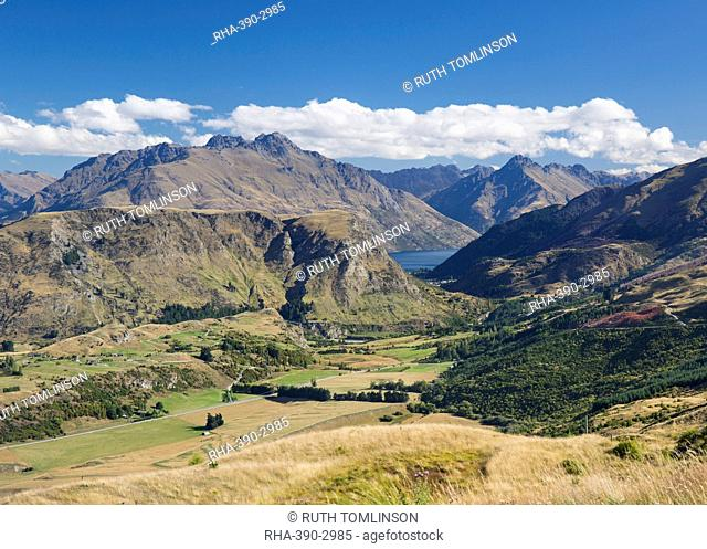 View towards Lake Wakatipu from the Coronet Peak road, Queenstown, Queenstown-Lakes district, Otago, South Island, New Zealand, Pacific