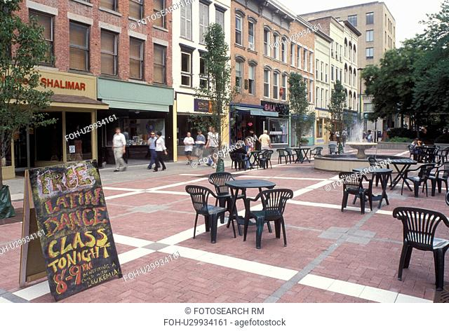 Ithaca, NY, New York, Finger Lakes, Outdoor cafT at Ithaca Commons in downtown Ithaca