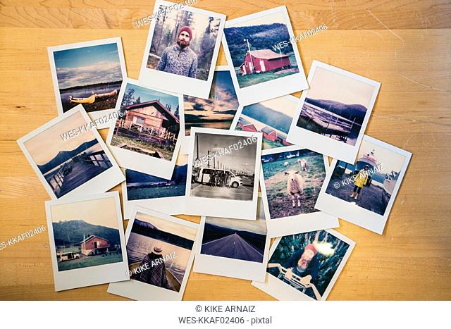 Collection of travel instant photos