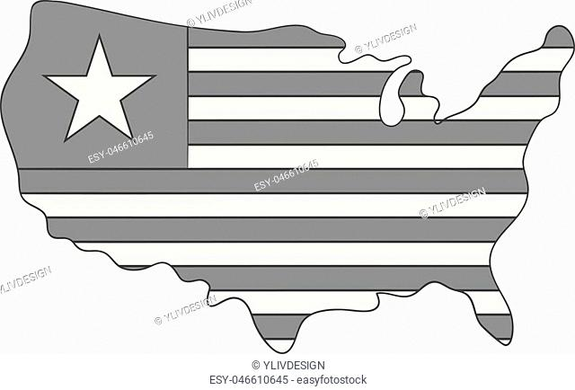 Independence day usa map icon in monochrome style isolated on white background vector illustration