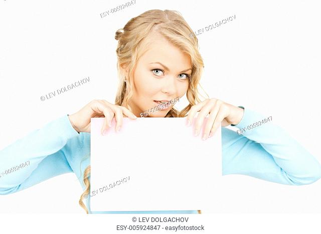 advertisement, business, promotion concept - woman with blank board