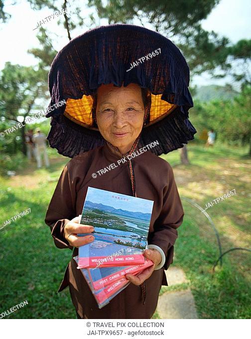 China, Hong Kong, New Territories, Hakka Woman at the Kam Tin Walled Village