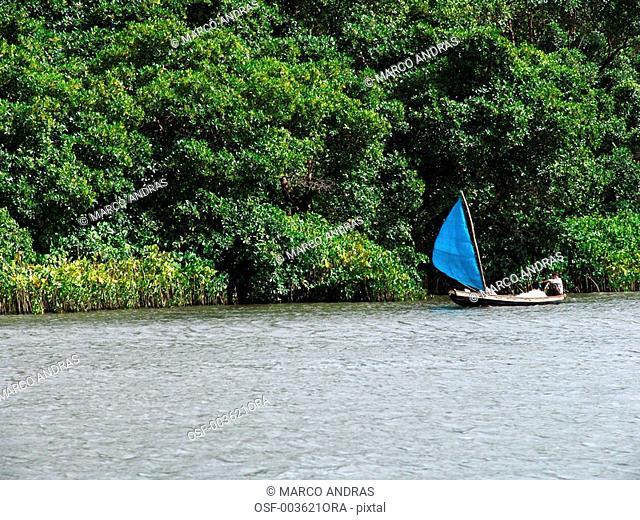 sao luis do maranhao one person sailing in a raft