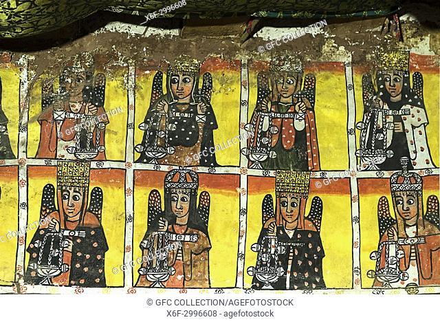 Eight of the twenty-four elders of the Apocalypse, fresco in the interior of the rock church Maryam Papaseyti, Gheralta, Tigray, Ethiopia