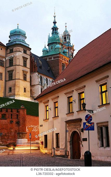 Royal Castle and Kanonicza Street, Krakow. Poland