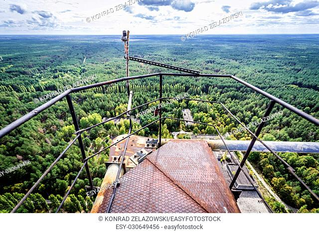 On the top of old Soviet radar system called Duga near Cherobyl town in Chernobyl Nuclear Power Plant Zone of Alienation in Ukraine