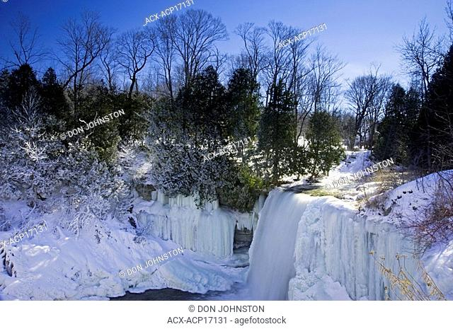 Bridal Veil Falls with ice and frost from high angle, Kagawong, Manitoulin Island, Ontario, Canada