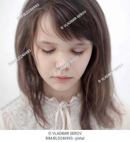 Portrait of sad Caucasian girl