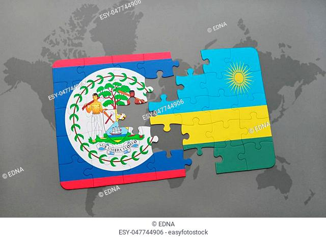 puzzle with the national flag of belize and rwanda on a world map background. 3D illustration