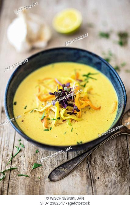Coconut soup with vegetables noodles
