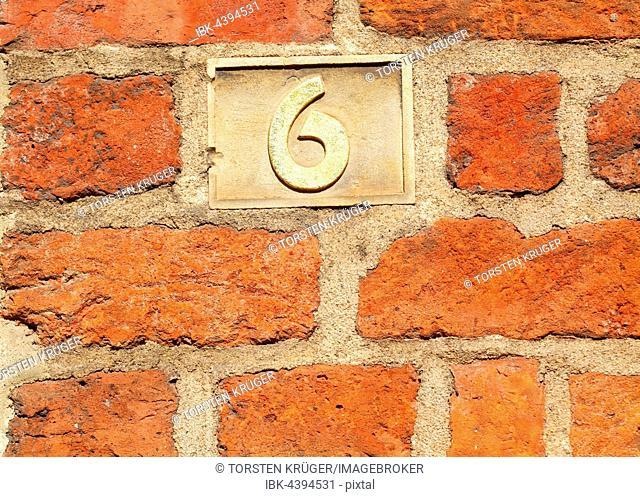 Old golden house number plate, Nr. 6, Roselius Haus, Böttcherstraße, Bremen