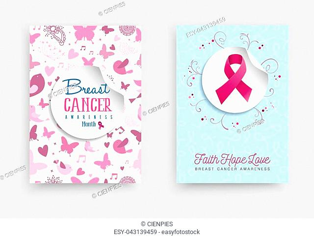 Breast cancer awareness month illustration set with pink ribbon bow sticker and text quote for support campaign. EPS10 vector