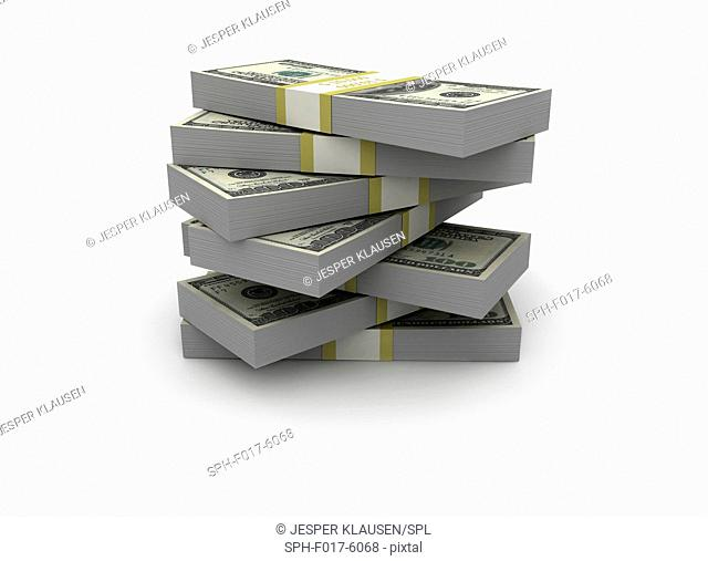 US dollar bills in a stack, illustration