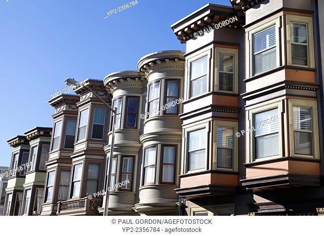 Rows of bay windows along Stockton Street in North Beach - San Francisco, San Francisco County, California, USA