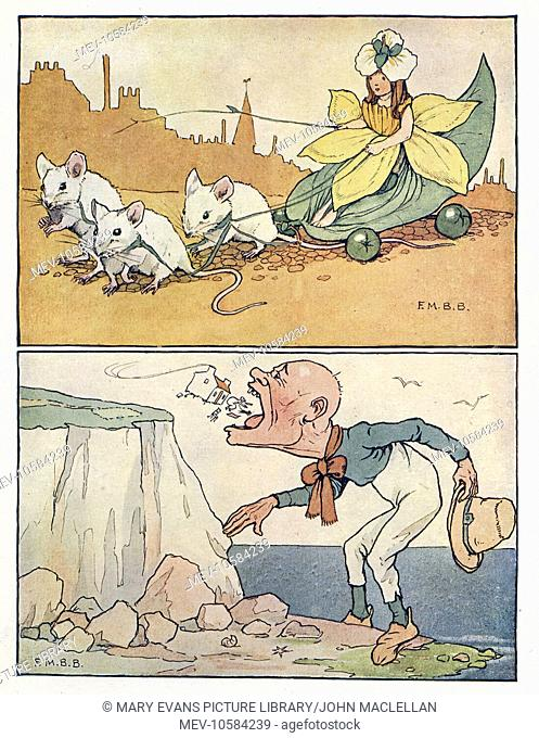Nursery Rhymes -- two illustrations. Above -- a lady dressed as a daffodil is pulled along by three white mice. Below -- an ugly giant stands on the sea shore