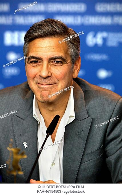 Actor/director George Clooney atttends the press conference of 'The Monuments Men'during the 64th annual Berlin Film Festival, in Berlin, Germany