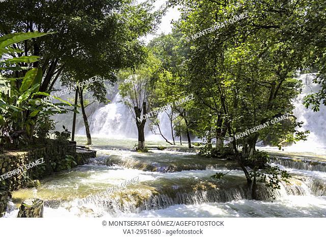 Waterfalls in the forest. Tamasopo, San Luis Potosí. Mexico