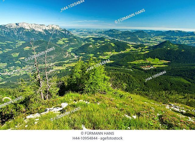 Bavaria, Germany, Upper Bavaria, Berchtesgaden country, Berchtesgaden, Kehlstein, house, summit, peak, Untersberg, sky, blue sky, Alps, mountains, cliff