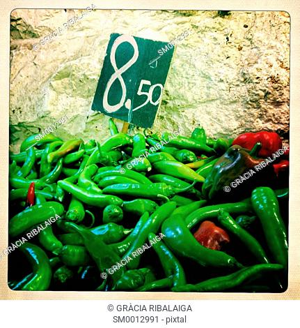 Green and red peppers in a Jerusalem market, Israel