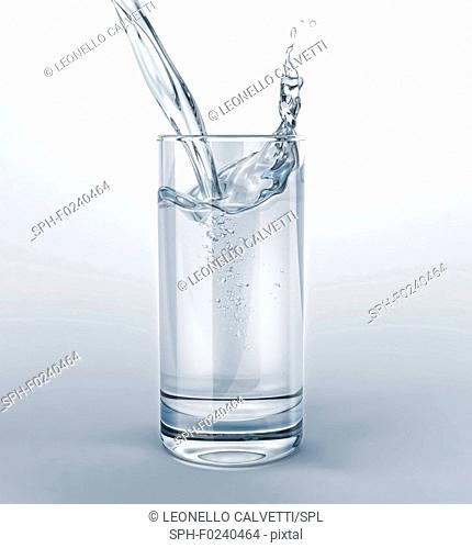 Glass full of clear water with pouring and splash. Isolated on white/grey background