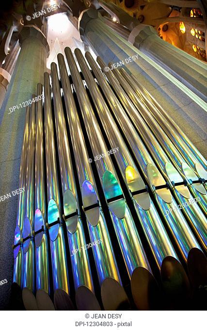 The organ of La Sagrada Familia; Barcelona, Catalonia, Spain