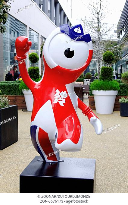Wenlock mascot in Westfield commercial centre, Stratford, London, UK