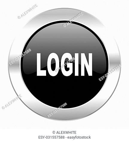 login black circle glossy chrome icon isolated