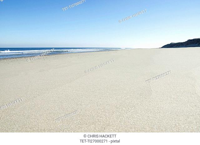 Empty beach on sunny day