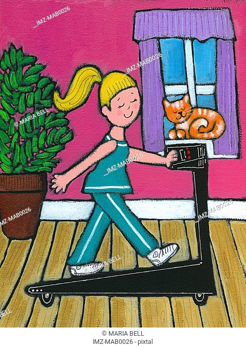 A woman walking on her treadmill