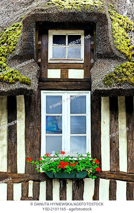 symbolic windows to private home, traditional historic architecture, Normandy, France, Europe