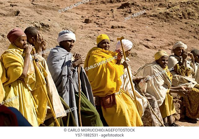 Pilgrims praying during Orthodox Christmas in Lalibela, Ethiopia, Africa