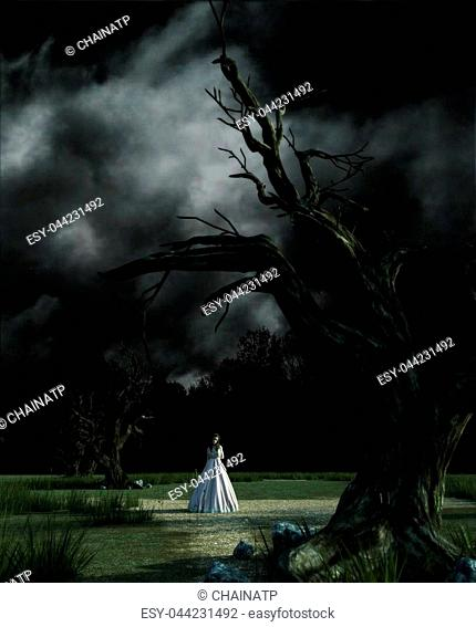 Ghost woman in white dress in Creepy forest,3d illustration