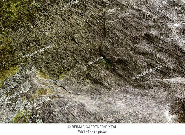 Smooth wavy sedimentary layers on rock at the foot of Ben Nevis mountain Steall Gorge Scottish Highlands Scotland UK