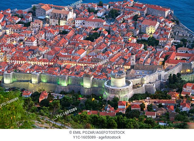 Dubrovnik old town in the evening, Croatia