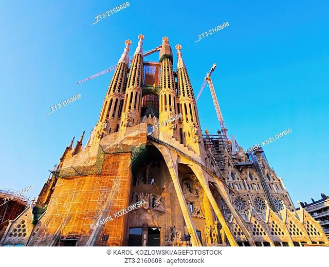 Sagrada Familia - famous church designed by Antoni Gaudi in Barcelona, Catalonia, Spain