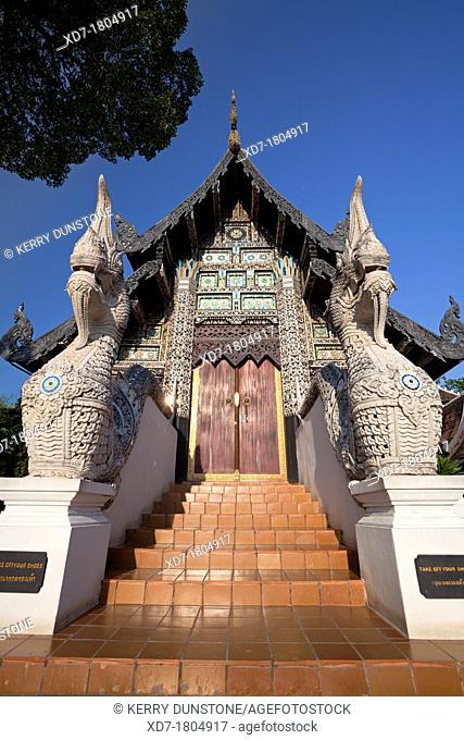 Wooden building holding the Venerable Acharn Mun Bhuridatto Vihara, Wat Chedi Luang, Chiang Mai, Thailand