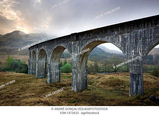 Glenfinnan viaduct, used as location in Harry Potter films. Glenfinnan, Higland, Scotland