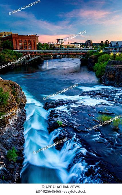 Spokane Falls and view of buildings in Spokane, Washington