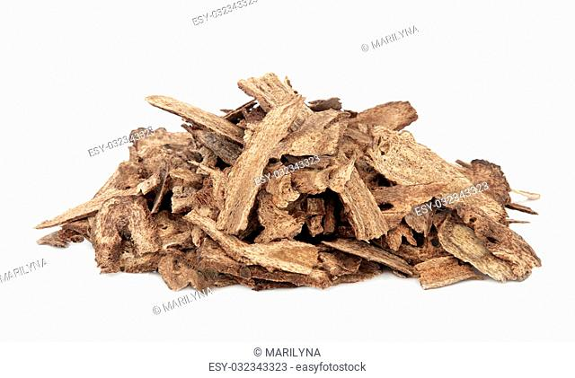 Costus root used in chinese herbal medicine over white background. Mu xiang