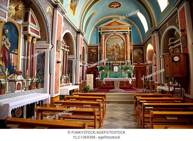 Interior of the Neo Classic Catholic Parish church of Ano Syros, Syros Island  S  , Greek Cyclades Islands