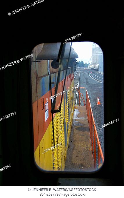 Chessie System number 7311 with the famous kitten logo, in Cheney, Washington State, USA. Photographed from inside the cab